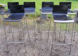 Set of Six Stacking Chrome & Ply Wood Bar Stools